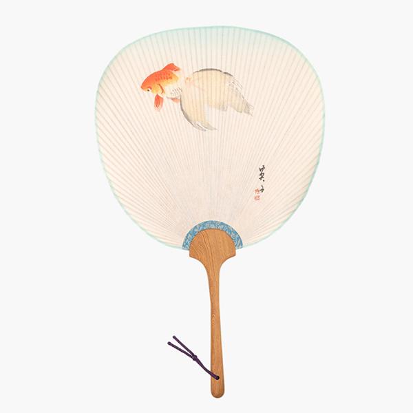 はいばらうちは 木版摺りうちわ 加藤英舟「 金魚」